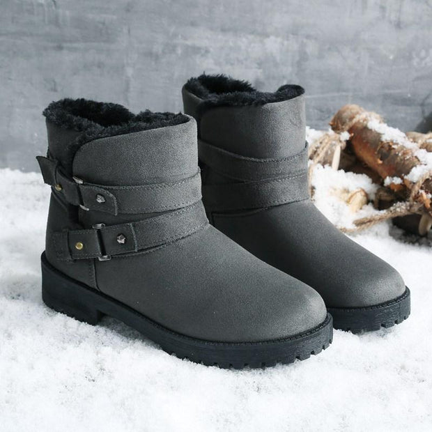 Women Fur Lined Warm Suede Casual Short Snow Boots Shoes