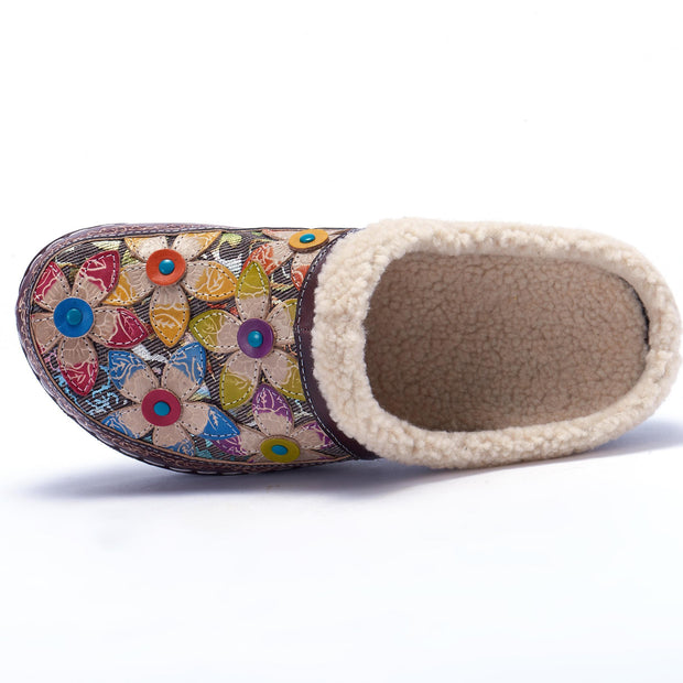 117221 Laura Vita Casual Clover Pattern Hand-Colored Genuine Leahter Warm Flat Shoes Women