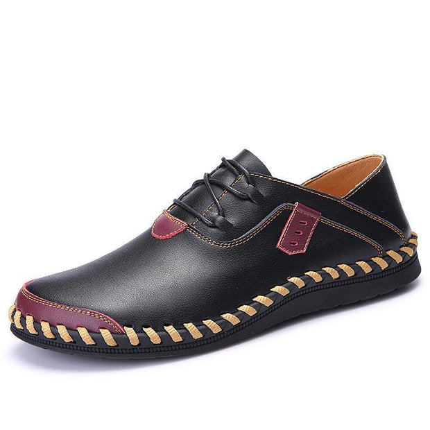 Mens Stitching Soft Sole Breathable Casual Lace Up Driving Loafers 117264 Black / Us 6 Men Shoes