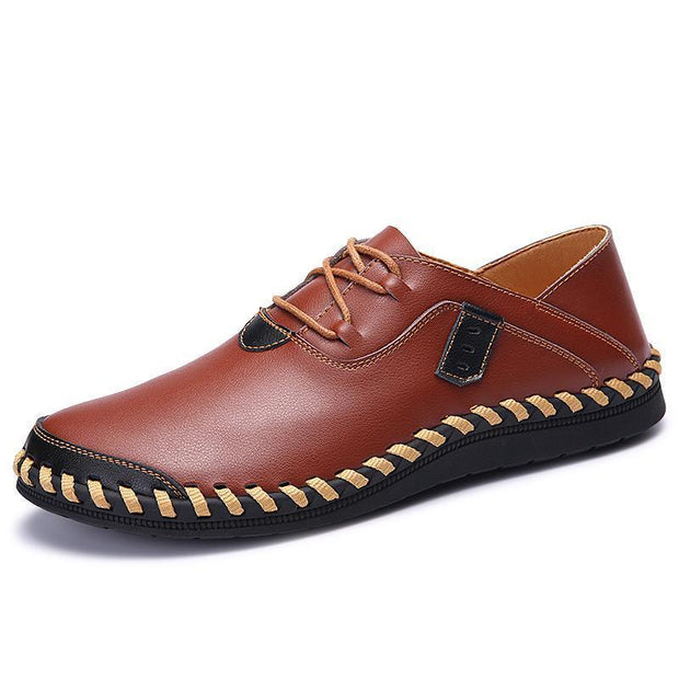 Mens Stitching Soft Sole Breathable Casual Lace Up Driving Loafers 117264 Brown / Us 6 Men Shoes