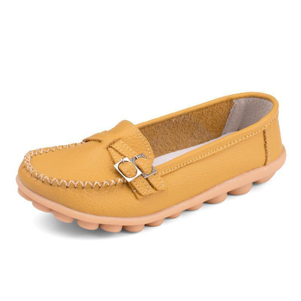Women Casual Moccasins Buckle Strap Flat Shoes Loafers 117405 Yellow / Us 4
