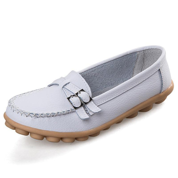 Women Casual Moccasins Buckle Strap Flat Shoes Loafers 117405 White / Us 4