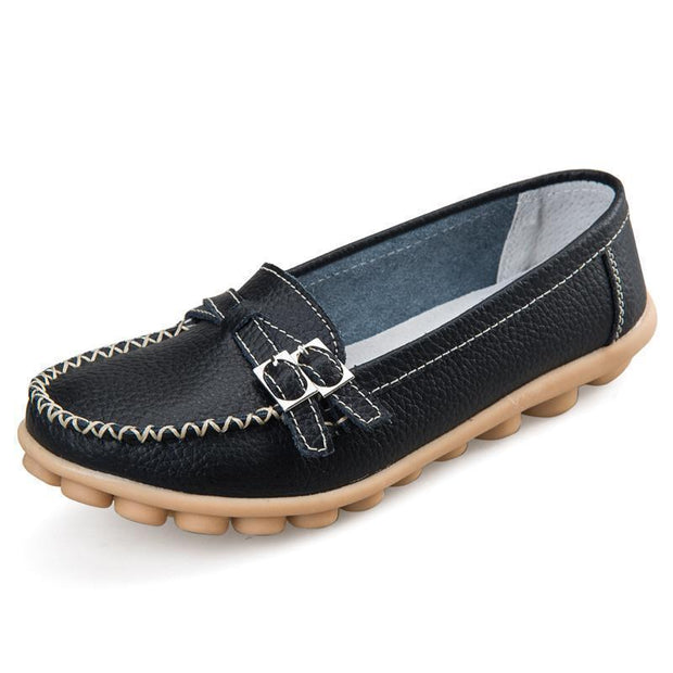 Women Casual Moccasins Buckle Strap Flat Shoes Loafers 117405 Black / Us 4