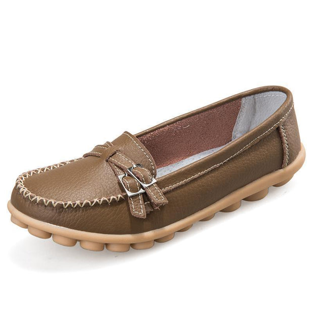 Women Casual Moccasins Buckle Strap Flat Shoes Loafers 117405 Khaki / Us 4