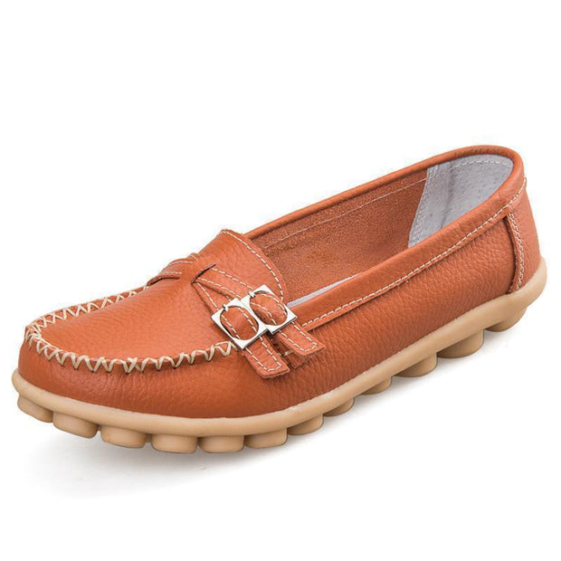 Women Casual Moccasins Buckle Strap Flat Shoes Loafers 117405 Orange / Us 4