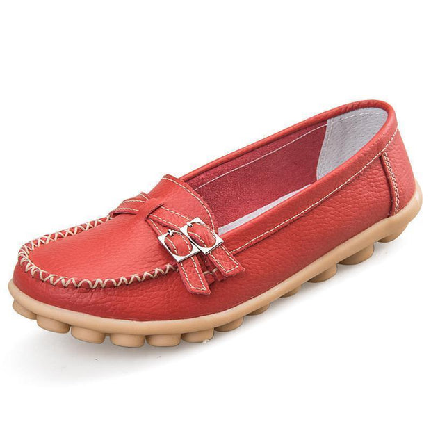 Women Casual Moccasins Buckle Strap Flat Shoes Loafers 117405 Wine Red / Us 4