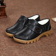 Women Genuine Leather Plush Cotton Hook&loop Sewing No-Slip Loafers Shoes
