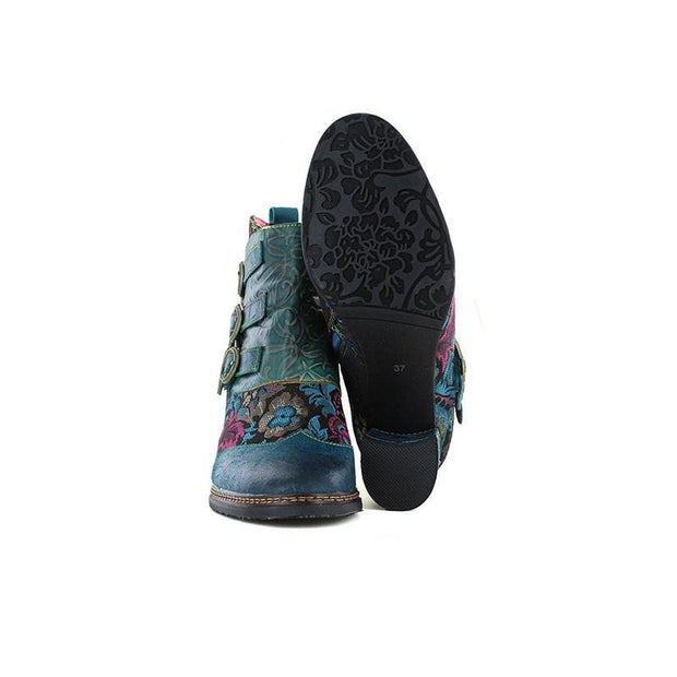 117677 Laura Vita Vintage Flower Pattern Genuine Leather Zipper Ankle Boots Women Shoes
