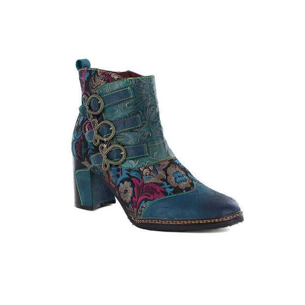 117677 Laura Vita Vintage Flower Pattern Genuine Leather Zipper Ankle Boots Us 6 / Turquoise Women
