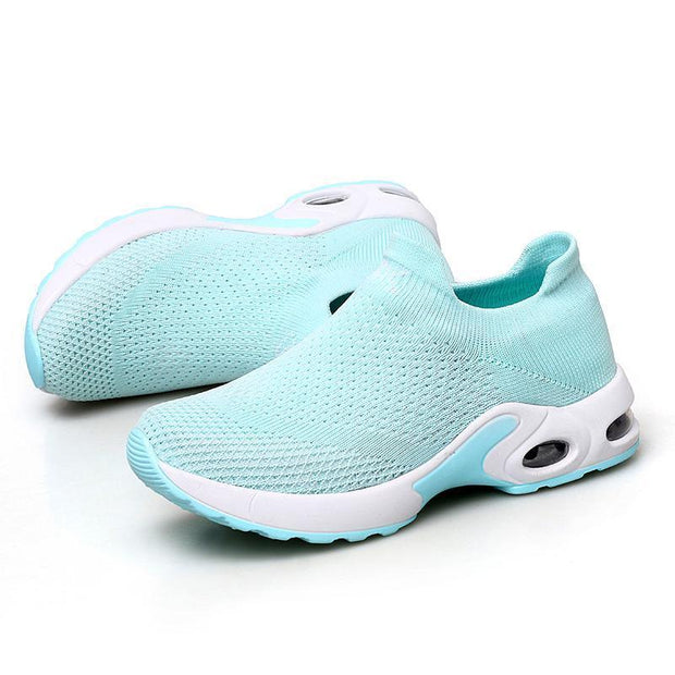 Female Breathable Lightweight Flying Woven Air Cusion Sneakerssecond -30% By Codebts30 118003 Green