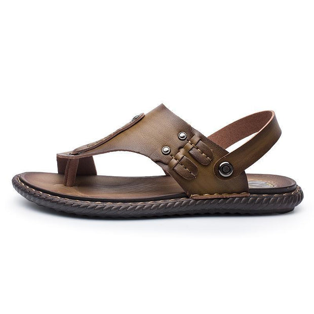 Mens Comfortable Leather Sandals 118322 Yellow Brown / Us 6.5 Men Shoes