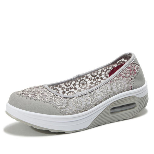 Womens Lace Breathable Slip On Platform Shoessecond -30% By Codebts30 118648 Gray / Us 4 Women Shoes
