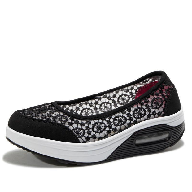 Womens Lace Breathable Slip On Platform Shoessecond -30% By Codebts30 118648 Black / Us 4 Women
