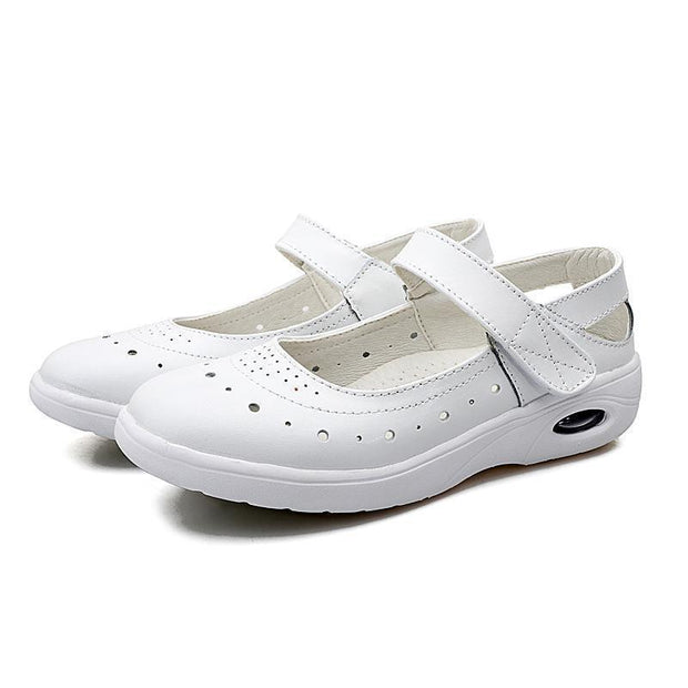 Women New Soft Genuine Leather Strap Hollow Loafers 118816 White / Us 3 Shoes