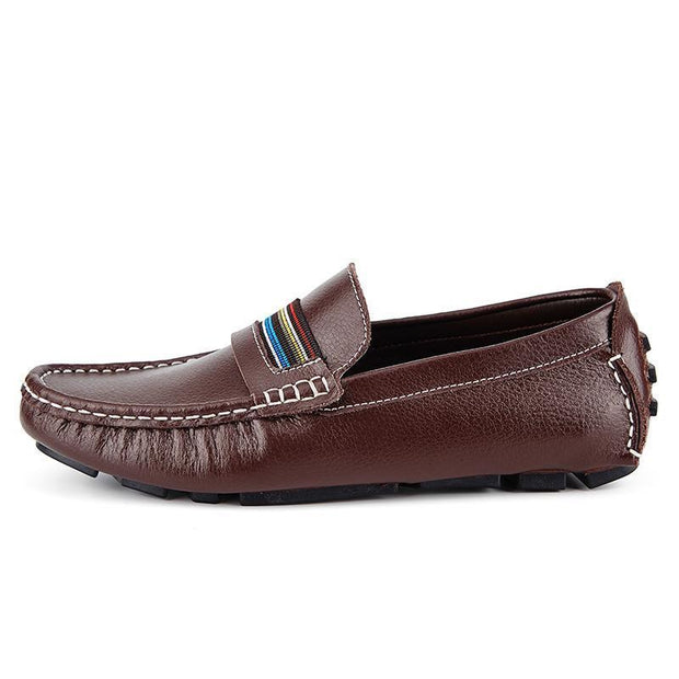 Mens Breathable Loafers Men Shoes Summer Casual Leather Male Comfortable Soft Driving 118847 Brown /