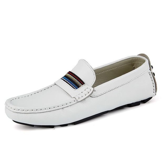 Mens Breathable Loafers Men Shoes Summer Casual Leather Male Comfortable Soft Driving 118847 White /