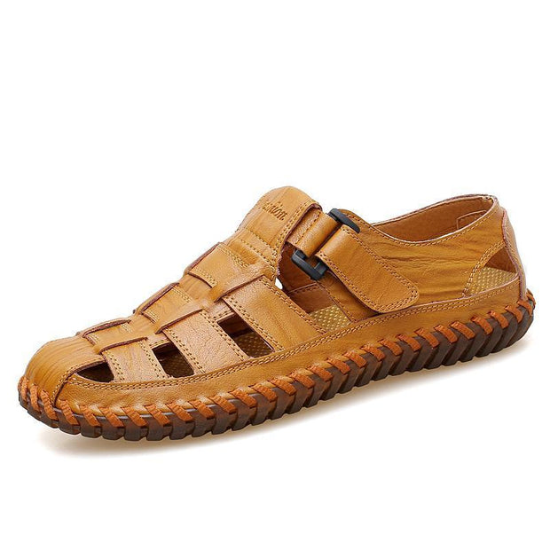 Men Soft Cow Leather Large Size Hand Stitching Hook Loop Sandals 118945 Yellow / Us 6.5 Shoes