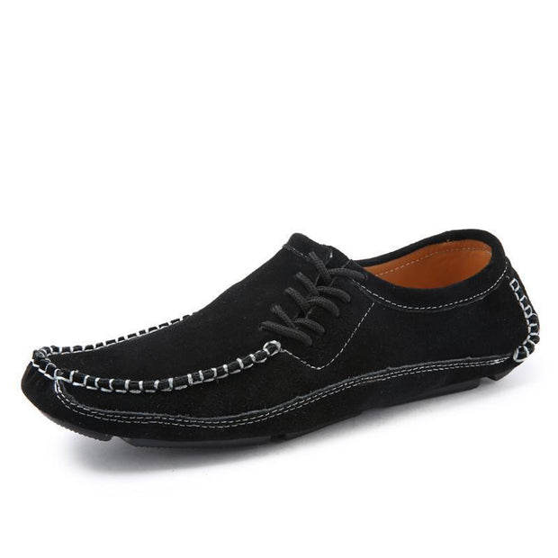 Mens Shoes Casual Fashion Peas Suede Leather Loafers Moccasins Flats Driving 119660 Black / Us 6.5