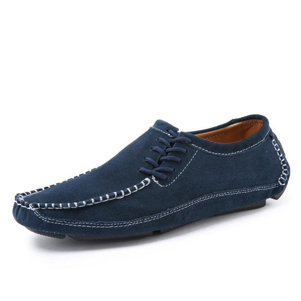 Mens Shoes Casual Fashion Peas Suede Leather Loafers Moccasins Flats Driving 119660 Blue / Us 6.5