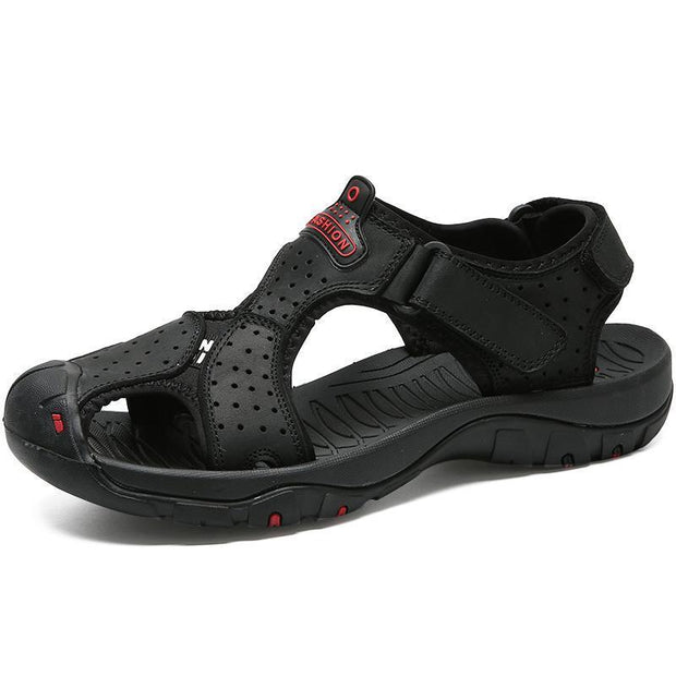 Men Anti-Collision Toe Adjustable Heel Strap Outdoor Leather Sandals 120721 Black / Us 6.5 Shoes