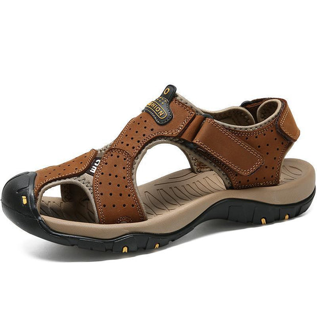 Men Anti-Collision Toe Adjustable Heel Strap Outdoor Leather Sandals 120721 Brown / Us 6.5 Shoes