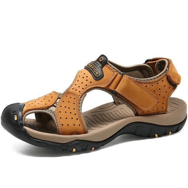 Men Anti-Collision Toe Adjustable Heel Strap Outdoor Leather Sandals 120721 Yellow / Us 6.5 Shoes