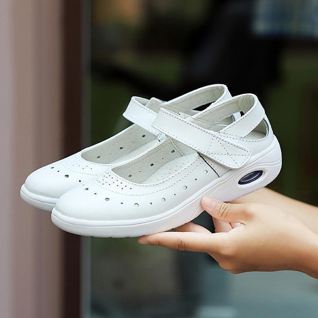 Women New Soft Genuine Leather Strap Hollow Loafers Shoes