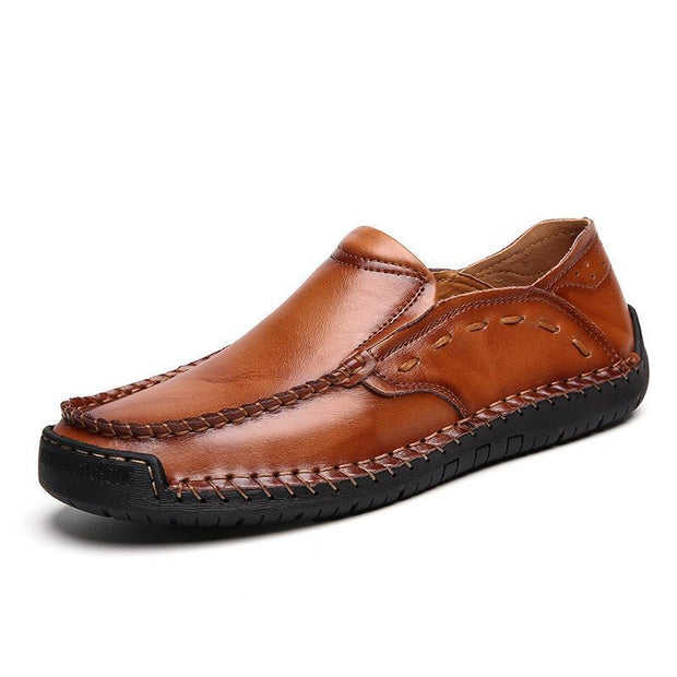 Large Size Men Hand Stitching Soft Slip On Casual Leather Shoes 122357 Brown / Us 6.5