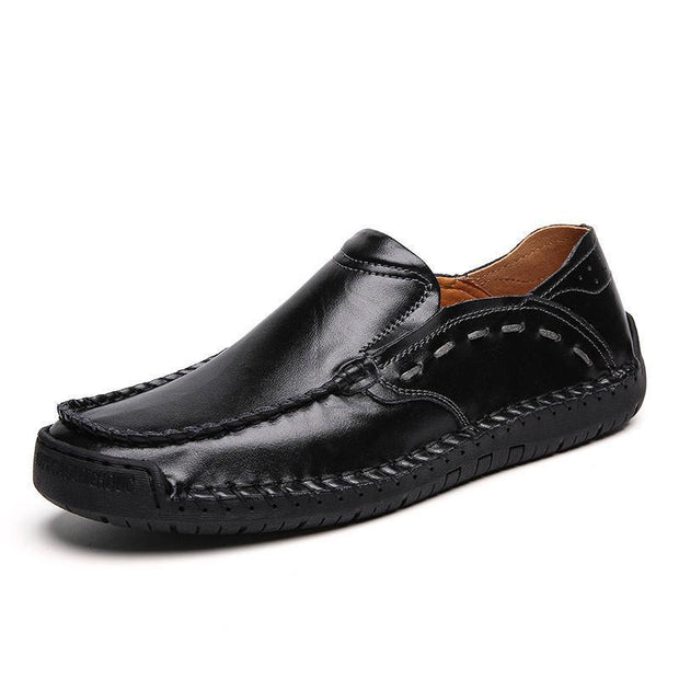 Large Size Men Hand Stitching Soft Slip On Casual Leather Shoes 122357 Black / Us 6.5