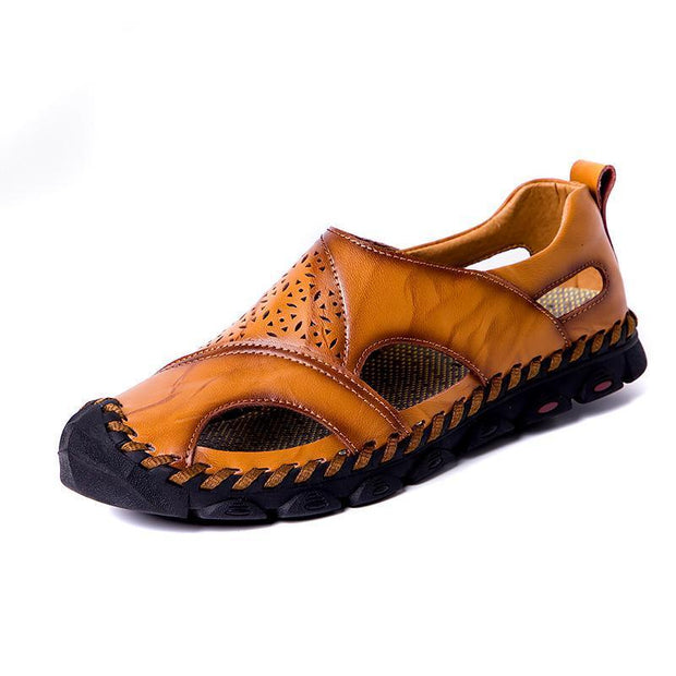 Large Size Men Hand Stitching Hole Carved Soft Leather Sandals 122508 Brown / Us 6.5 Shoes