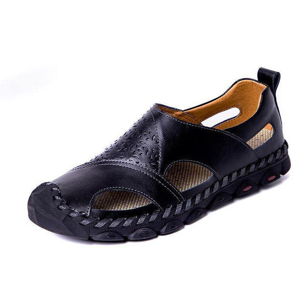 Large Size Men Hand Stitching Hole Carved Soft Leather Sandals 122508 Black / Us 6.5 Shoes