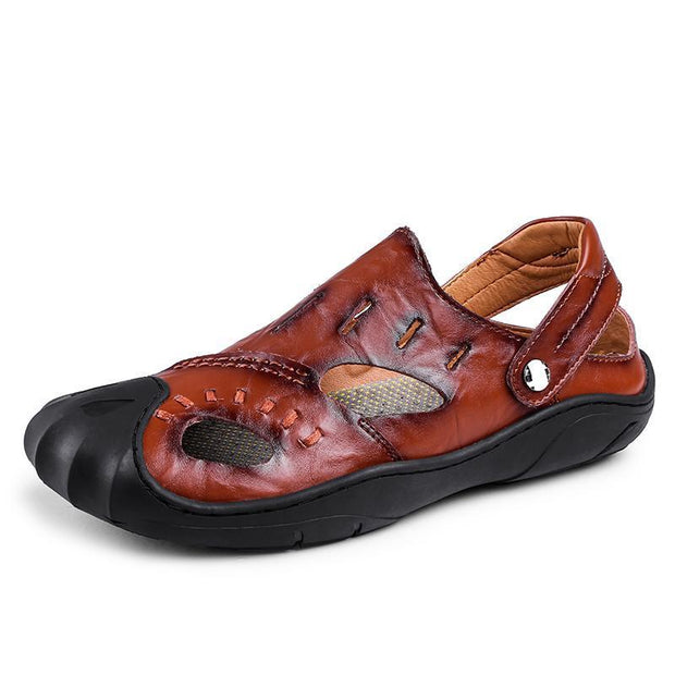 Summer New Baotou Leather Sandals Antiskid Outdoor Leisure Fashion Mens Shoes 122748 Red Brown / Us