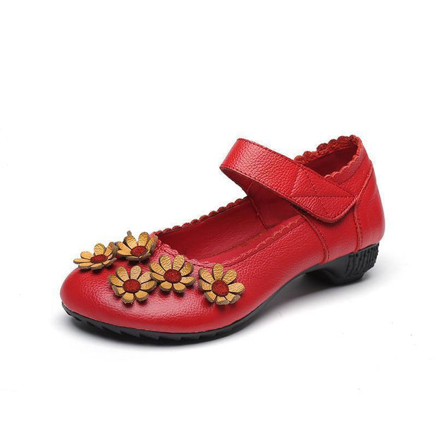 Woman Spring Summer Autumn Flower Surrounded Unique Soft Shoe 123020 Red / Us 4 Women Shoes
