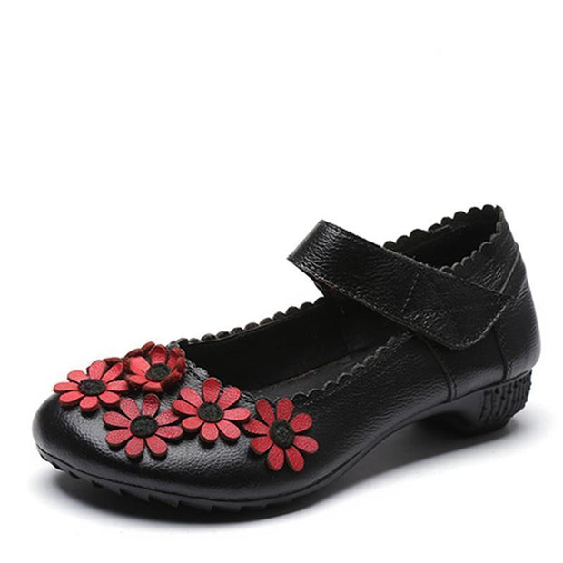 Woman Spring Summer Autumn Flower Surrounded Unique Soft Shoe 123020 Black / Us 4 Women Shoes