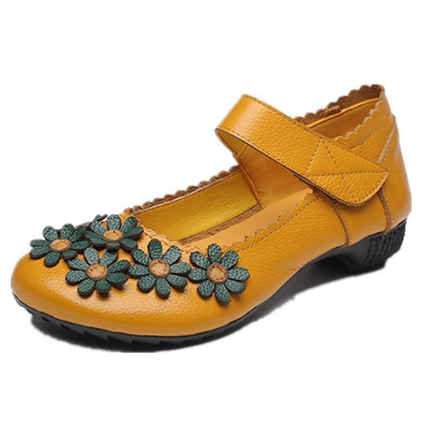 Woman Spring Summer Autumn Flower Surrounded Unique Soft Shoe 123020 Yellow / Us 4 Women Shoes