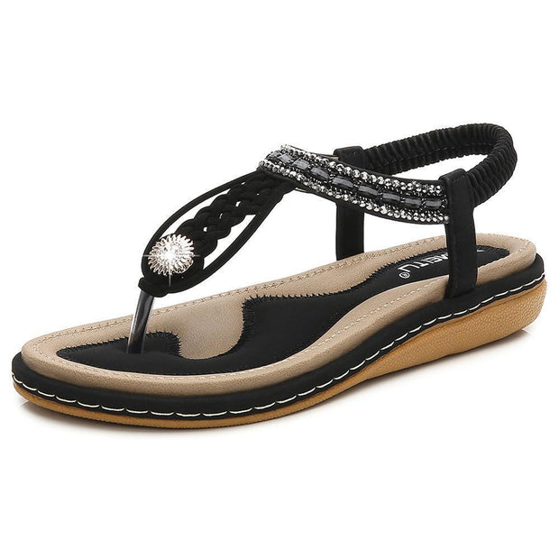 Women Hot Sale Summer Cool Woven Flats Shoes Female Large Size Sandals 124050 Black / Us 5