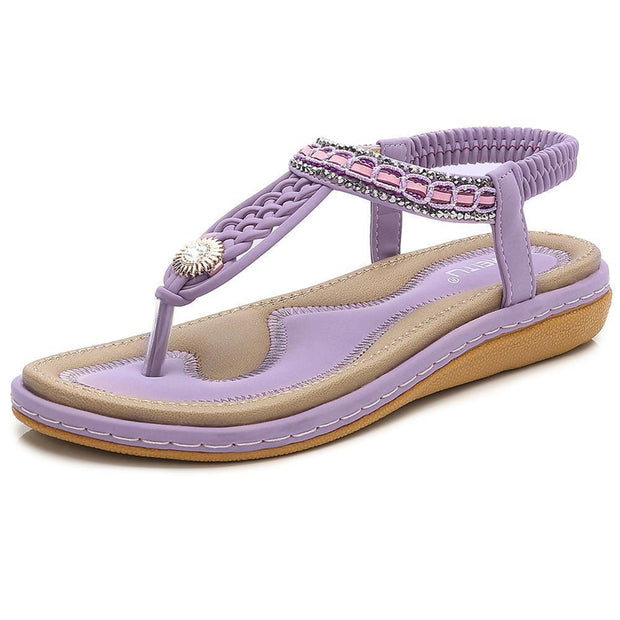 Women Hot Sale Summer Cool Woven Flats Shoes Female Large Size Sandals 124050 Purple / Us 5