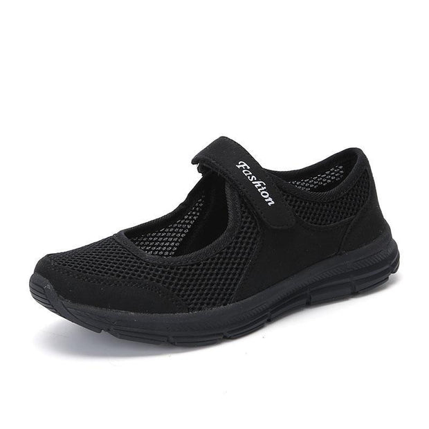 Spring Women Shoes Summer Female Breathable Mesh Cloth Anti-Slip Sneakers Fashion 124496 Black / Us