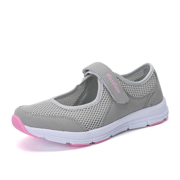 Spring Women Shoes Summer Female Breathable Mesh Cloth Anti-Slip Sneakers Fashion 124496 Light Grey