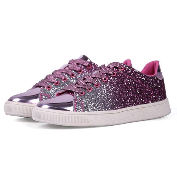 Women Lace Up Glitter Metallic Light Weight Sneakers 124758 Pink / Us 5 Shoes