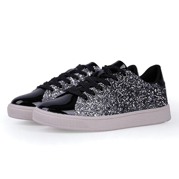 Women Lace Up Glitter Metallic Light Weight Sneakers 124758 Black / Us 5 Shoes