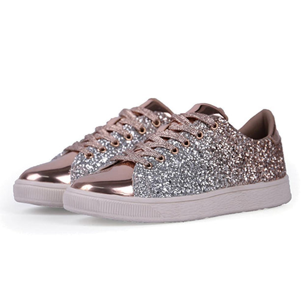 Women Lace Up Glitter Metallic Light Weight Sneakers 124758 Gold / Us 5 Shoes