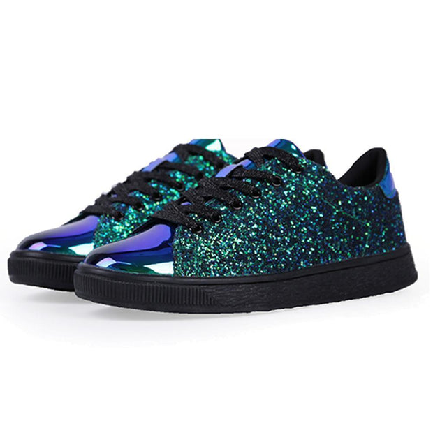 Women Lace Up Glitter Metallic Light Weight Sneakers 124758 Blue / Us 5 Shoes