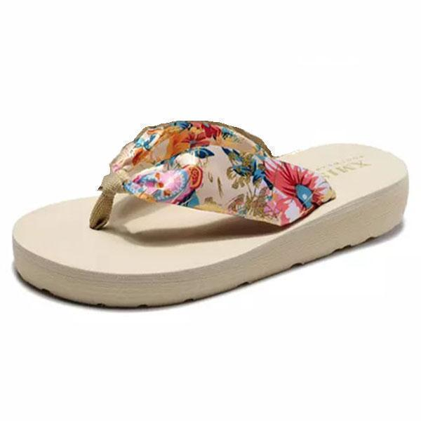 Women Bohemia Floral Beach Slippers Thongs Flip Flops 124962 Bronzing Beige / Us 5 Shoes