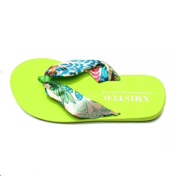 Women Bohemia Floral Beach Slippers Thongs Flip Flops 124962 Green Leaves / Us 5 Shoes