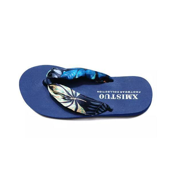 Women Bohemia Floral Beach Slippers Thongs Flip Flops 124962 Blue Leaves / Us 5 Shoes