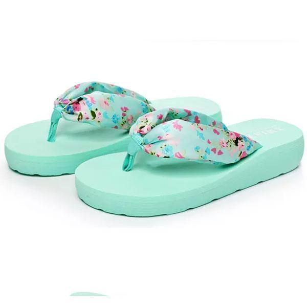 Women Bohemia Floral Beach Slippers Thongs Flip Flops 124962 Lake Blue / Us 5 Shoes