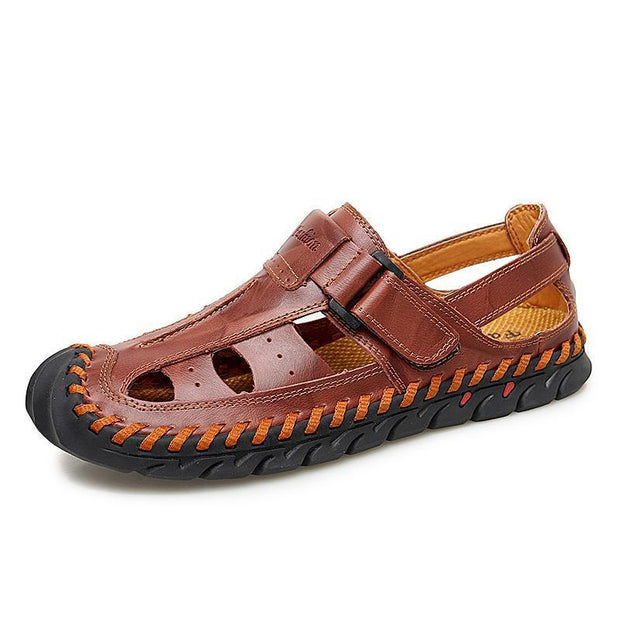 Mens Casual Fashion Outdoor Hollow Flat Non-Slip Sandals 124989 Red Brown / Us 6.5 Men Shoes