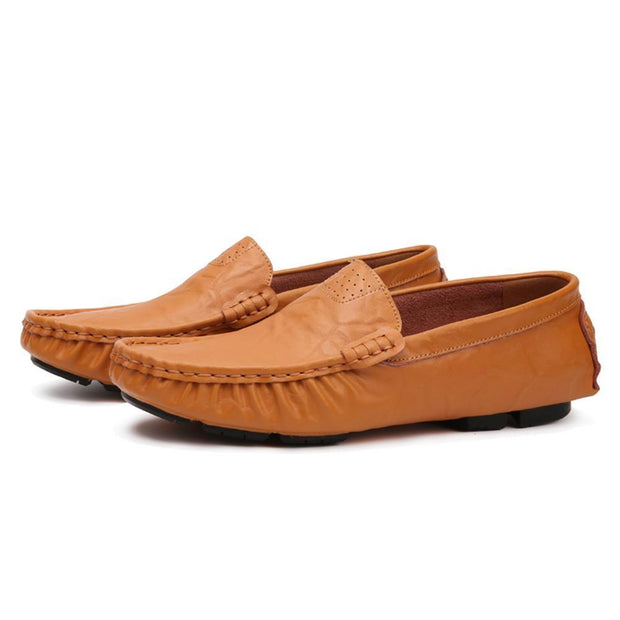 Men Moccasin Slippers Cowhide Leather Upper Fashion Style Driving Shoes 125318 Brown / Us 6.5
