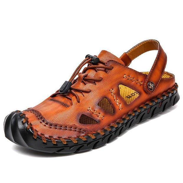 Large Size Men Hand Stitching Closed Toe Comfy Soft Leather Sandals 125394 Red Brown / Us 6.5 Shoes